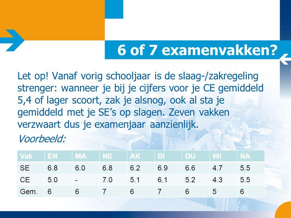 6 of 7 examenvakken