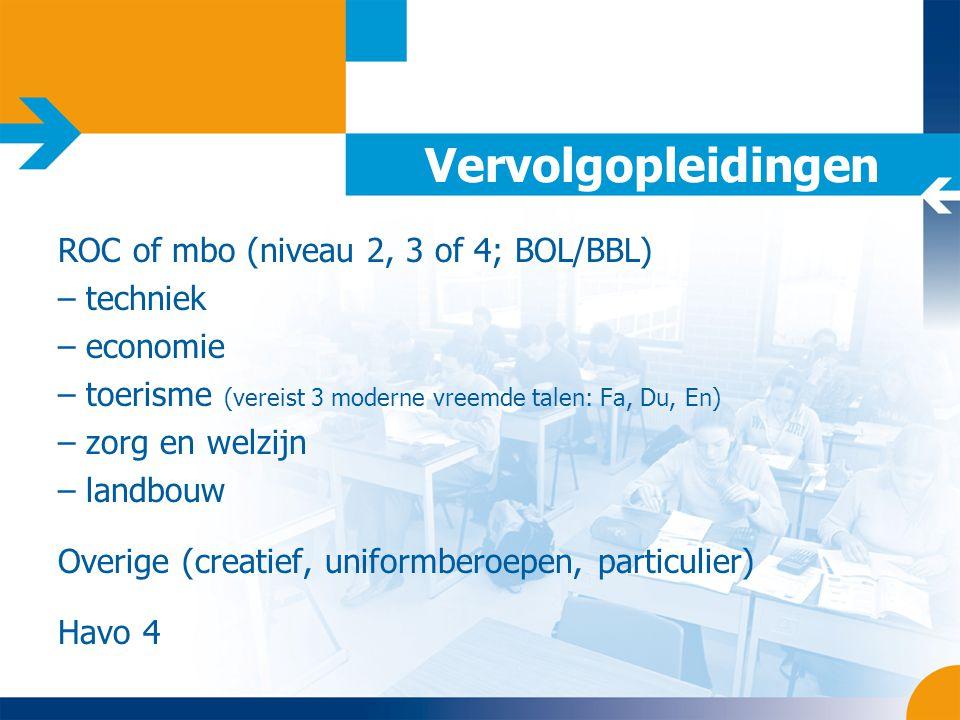 Vervolgopleidingen ROC of mbo (niveau 2, 3 of 4; BOL/BBL) techniek