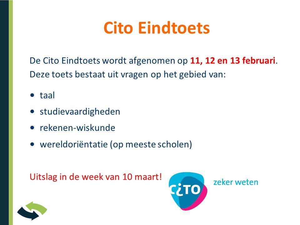 Cito Eindtoets De Cito Eindtoets wordt afgenomen op 11, 12 en 13 februari. Deze toets bestaat uit vragen op het gebied van:
