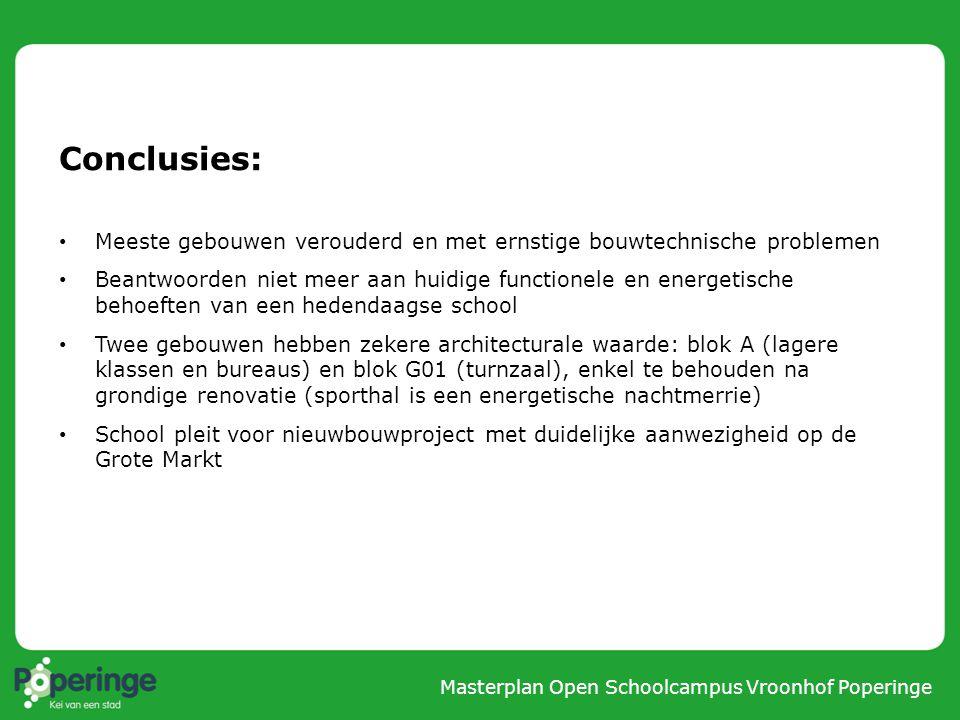 Conclusies: Meeste gebouwen verouderd en met ernstige bouwtechnische problemen.
