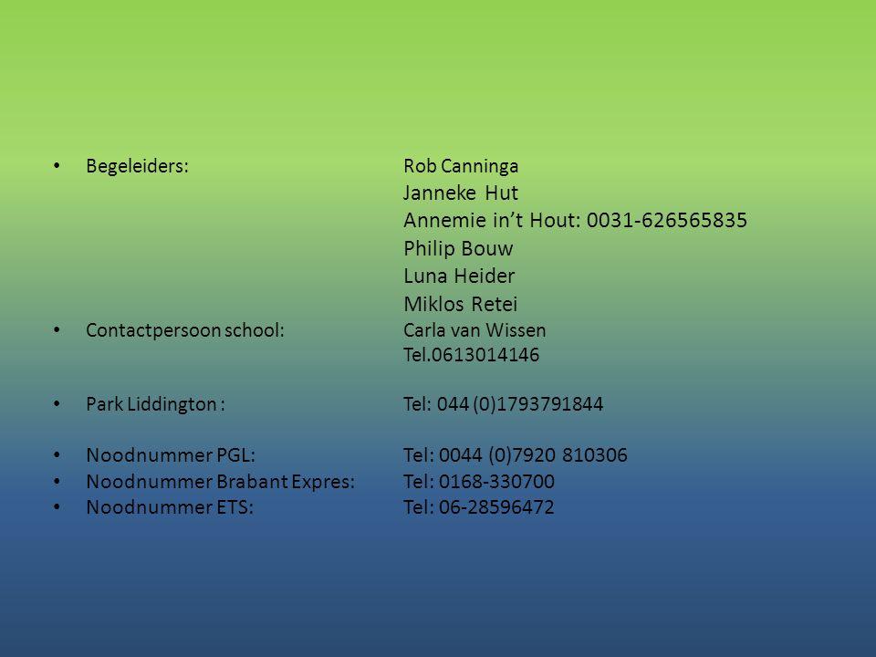 Janneke Hut Annemie in't Hout: 0031-626565835 Philip Bouw Luna Heider