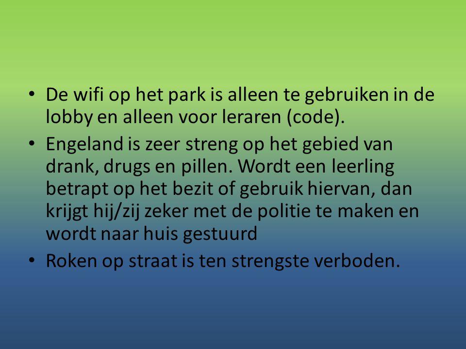 De wifi op het park is alleen te gebruiken in de lobby en alleen voor leraren (code).