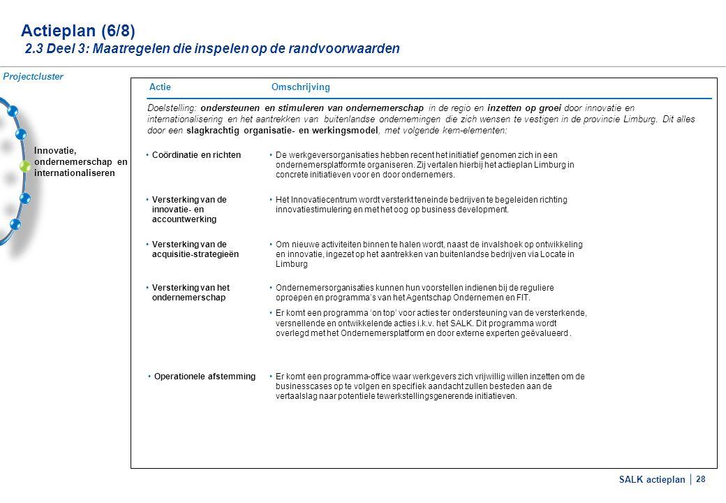 Actieplan (7/8) 2.3 Deel 3: Maatregelen die inspelen op de randvoorwaarden