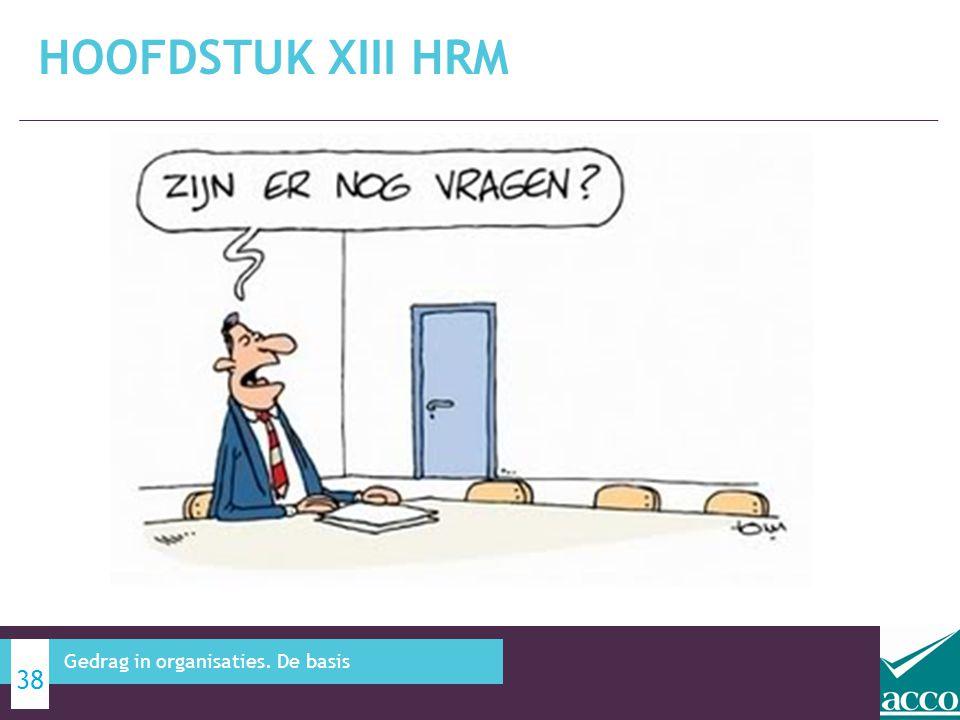Hoofdstuk XIII HRM Gedrag in organisaties. De basis