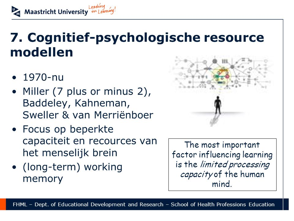 7. Cognitief-psychologische resource modellen