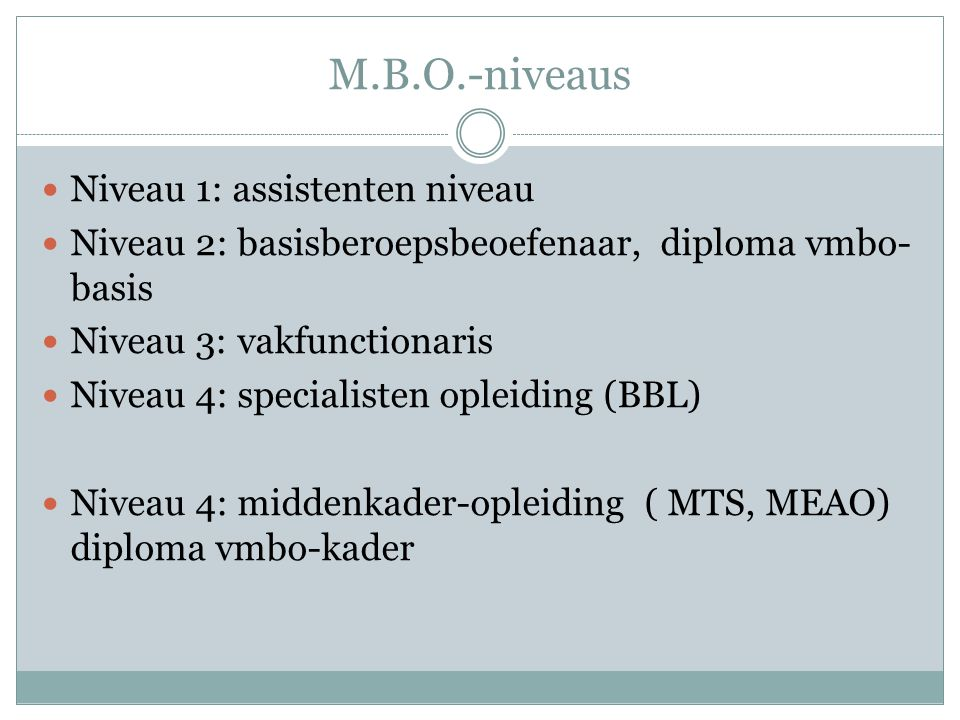 M.B.O.-niveaus Niveau 1: assistenten niveau