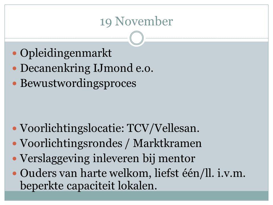 19 November Opleidingenmarkt Decanenkring IJmond e.o.