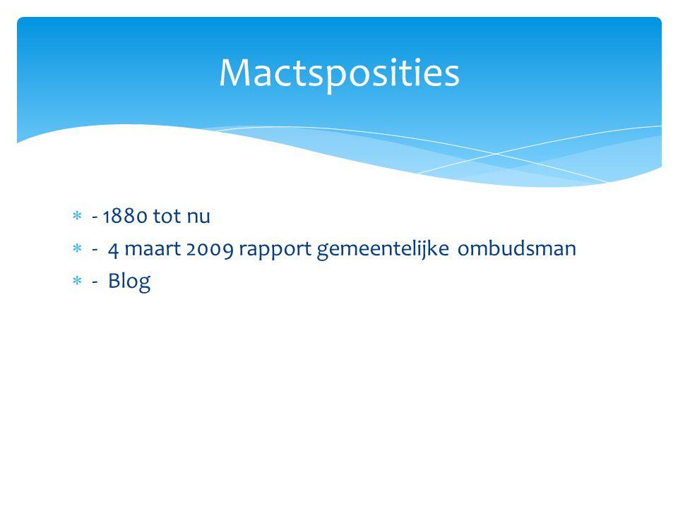 Mactsposities - 1880 tot nu - 4 maart 2009 rapport gemeentelijke ombudsman - Blog