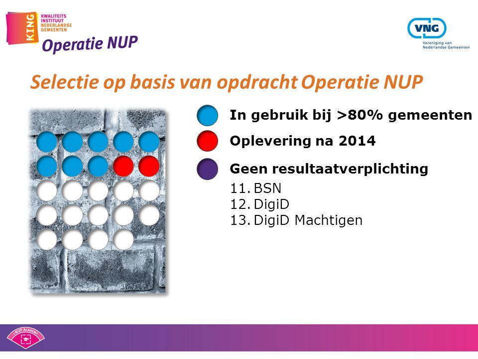 Selectie op basis van opdracht Operatie NUP