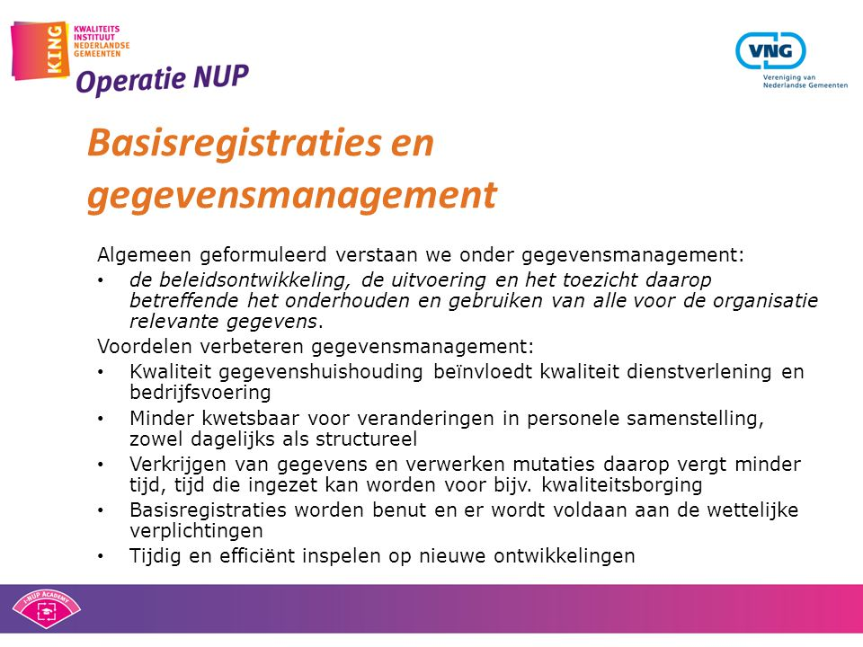 Basisregistraties en gegevensmanagement