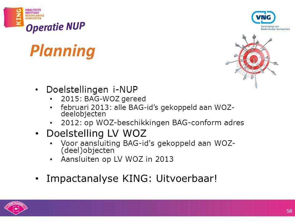 Planning Doelstelling LV WOZ Impactanalyse KING: Uitvoerbaar!