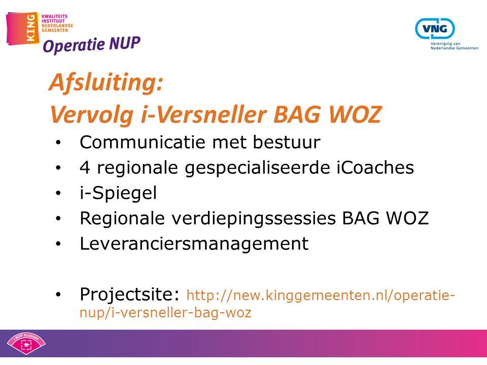 Afsluiting: Vervolg i-Versneller BAG WOZ