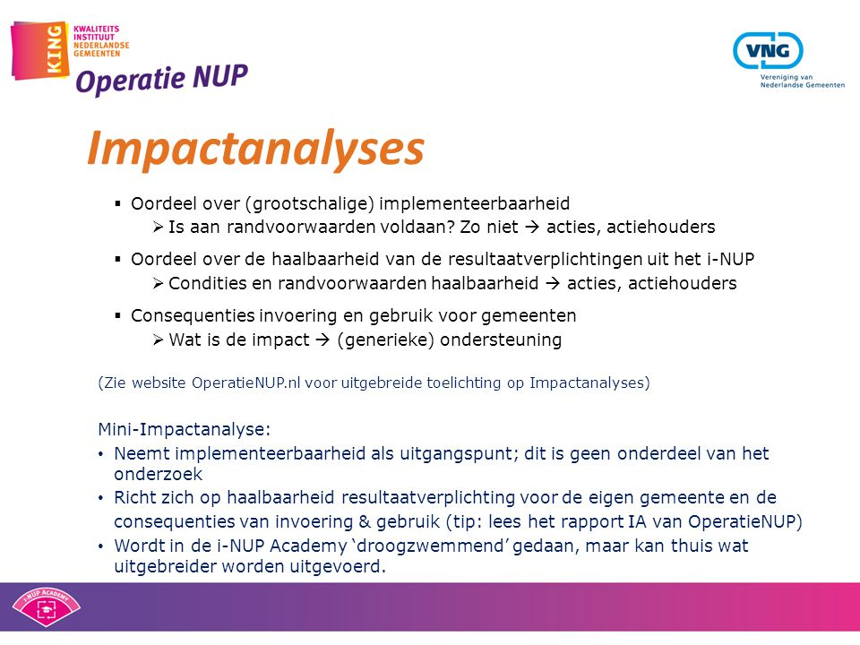 Impactanalyses Oordeel over (grootschalige) implementeerbaarheid