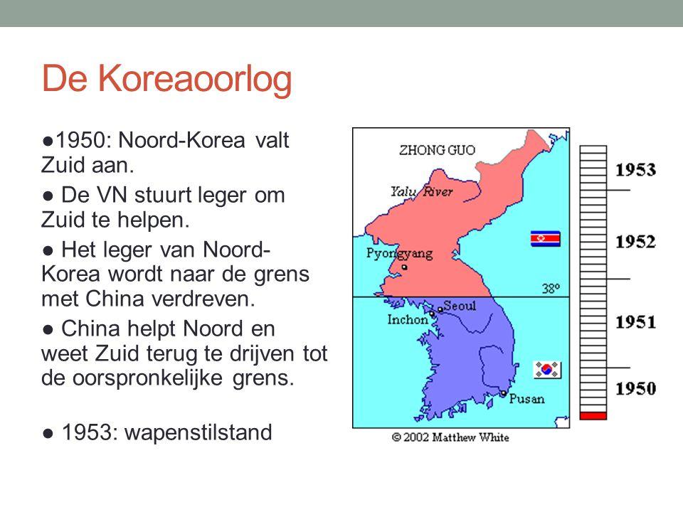 De Koreaoorlog ●1950: Noord-Korea valt Zuid aan.