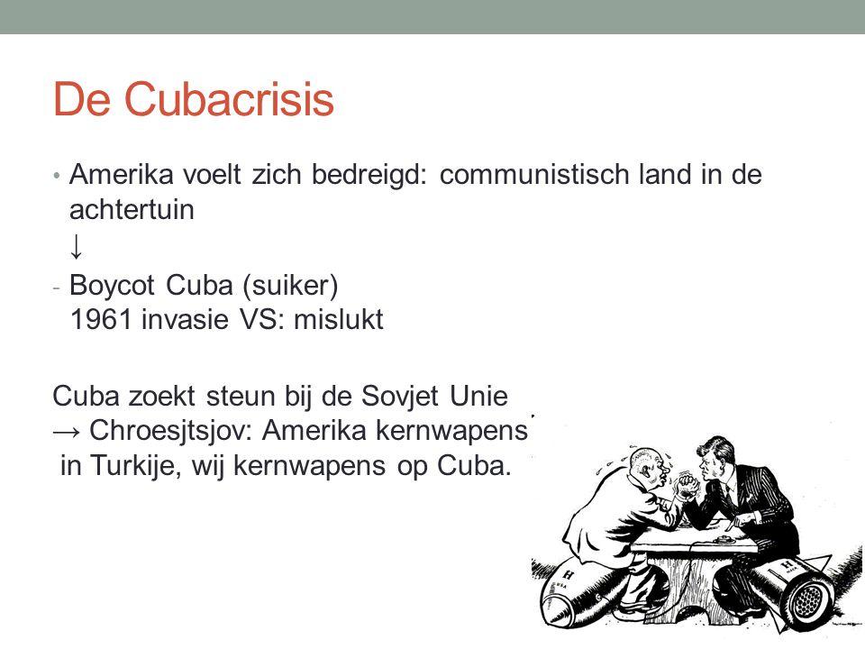 De Cubacrisis Amerika voelt zich bedreigd: communistisch land in de achtertuin ↓ Boycot Cuba (suiker) 1961 invasie VS: mislukt.