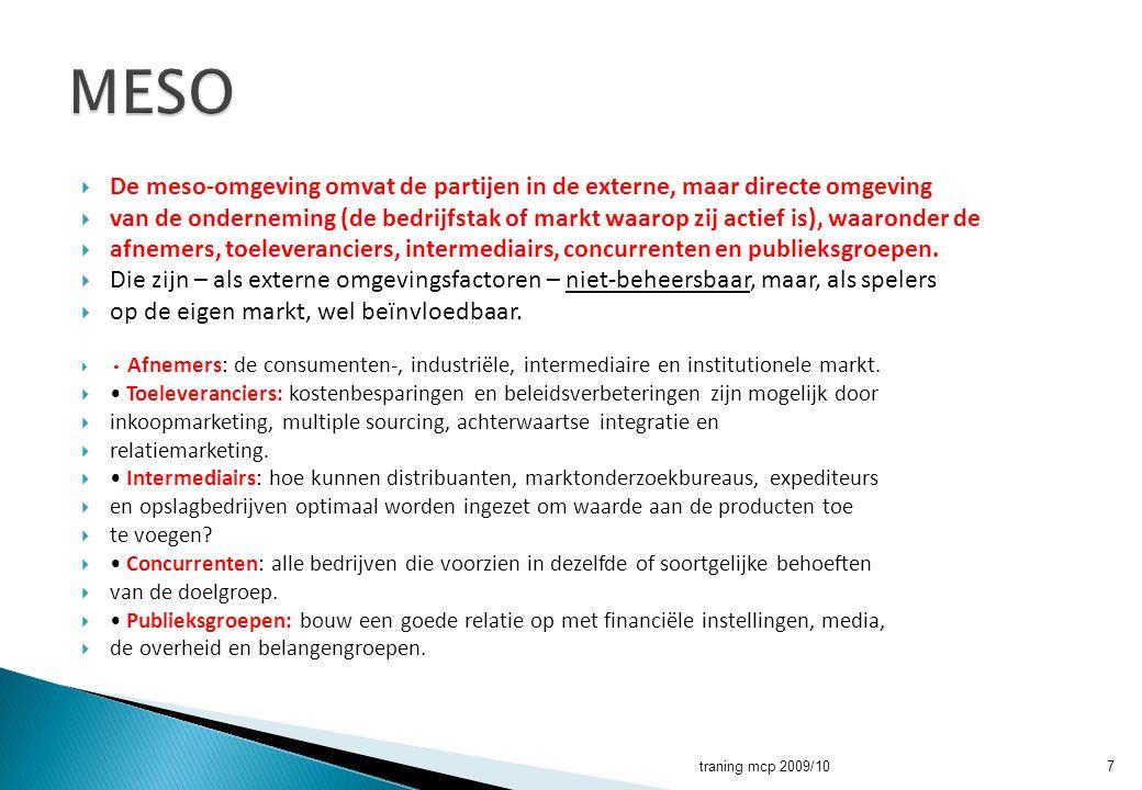 MESO De meso-omgeving omvat de partijen in de externe, maar directe omgeving.