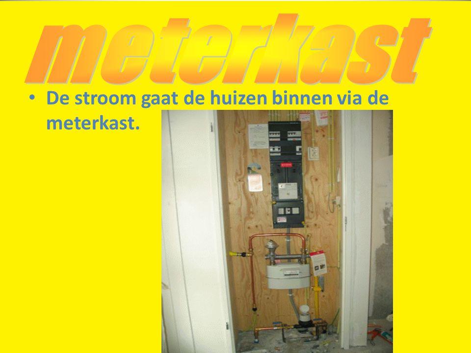 meterkast De stroom gaat de huizen binnen via de meterkast.