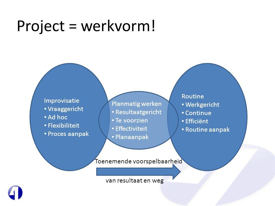 Project = werkvorm! Improvisatie Vraaggericht Ad hoc Flexibiliteit