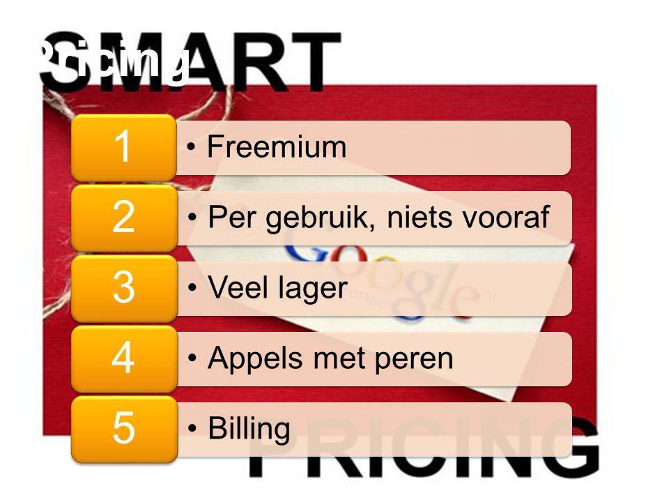 Pricing 1 Freemium 2 Per gebruik, niets vooraf 3 Veel lager 4