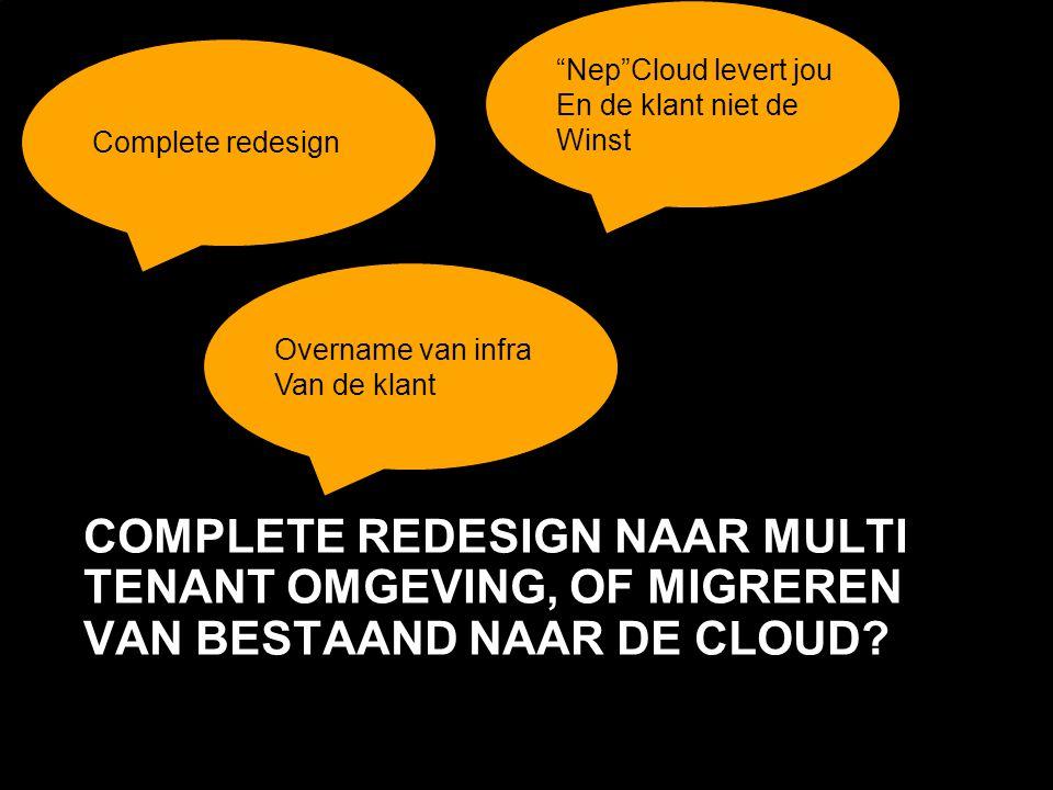 Nep Cloud levert jou En de klant niet de. Winst. Complete redesign. Overname van infra. Van de klant.