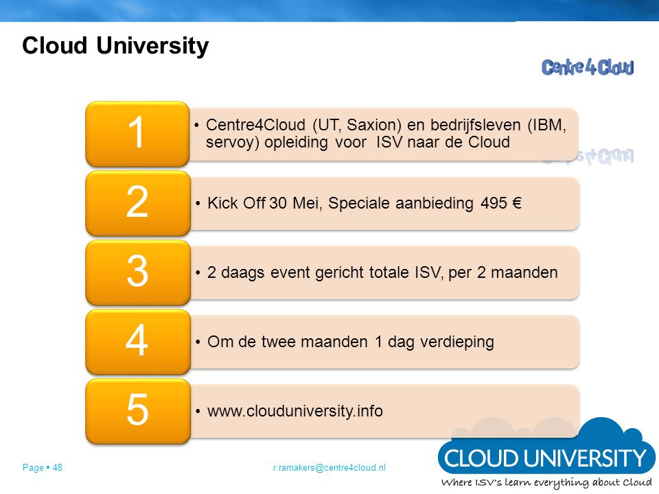 Cloud University r.ramakers@centre4cloud.nl 1
