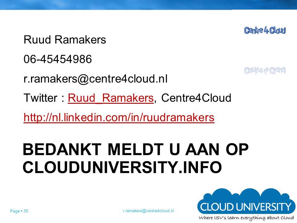 Bedankt Meldt u aan op Clouduniversity.info