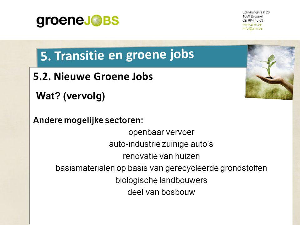 ONDERWERP 5. Transitie en groene jobs 5.2. Nieuwe Groene Jobs