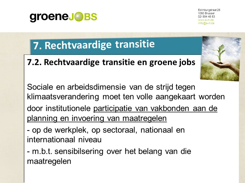 7.2. Rechtvaardige transitie en groene jobs