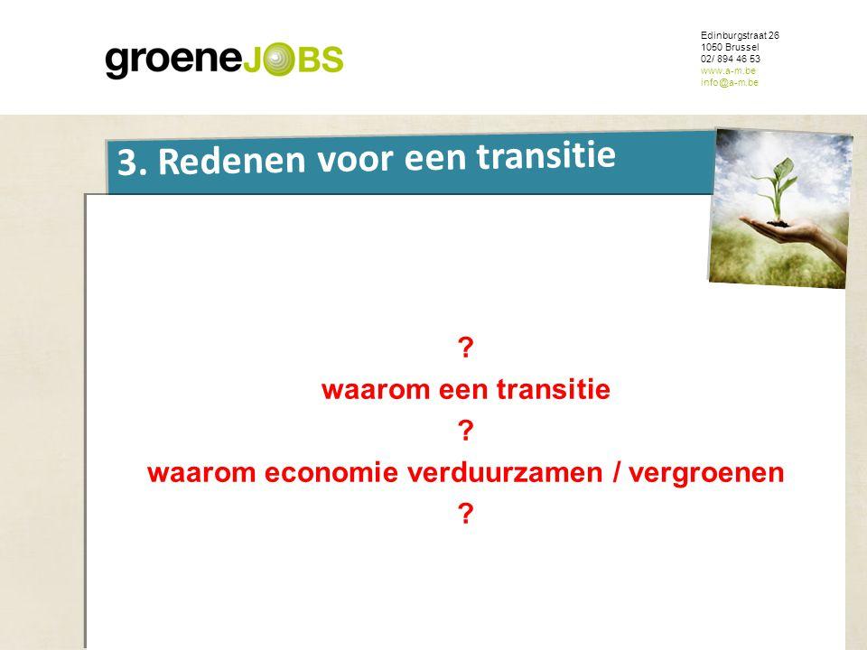 waarom een transitie waarom economie verduurzamen / vergroenen