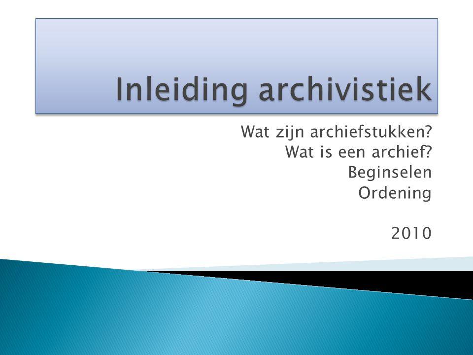 Inleiding archivistiek