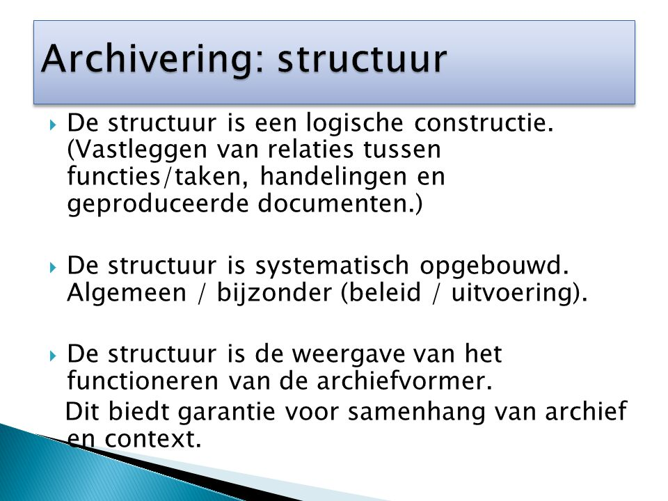 Archivering: structuur