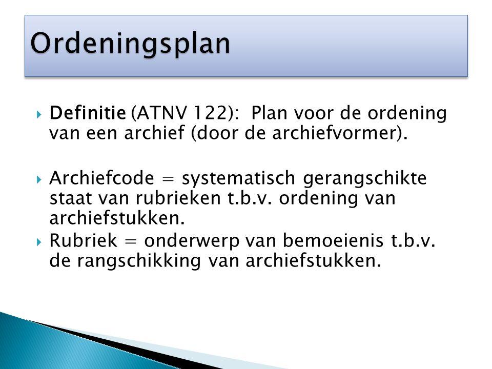 Ordeningsplan Definitie (ATNV 122): Plan voor de ordening van een archief (door de archiefvormer).