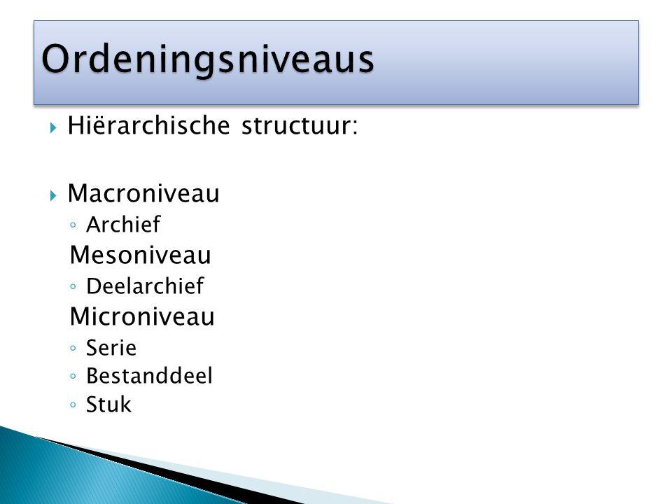 Ordeningsniveaus Hiërarchische structuur: Macroniveau Mesoniveau