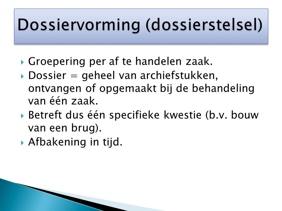 Dossiervorming (dossierstelsel)
