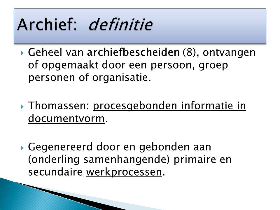 Archief: definitie Geheel van archiefbescheiden (8), ontvangen of opgemaakt door een persoon, groep personen of organisatie.