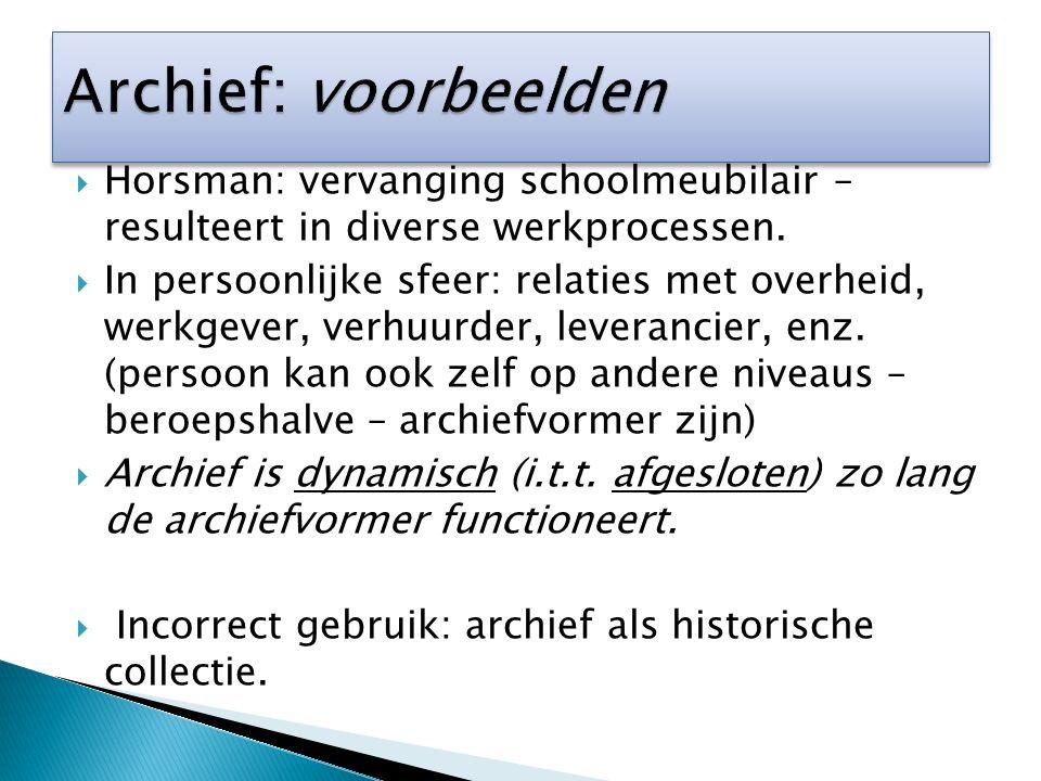 Archief: voorbeelden Horsman: vervanging schoolmeubilair – resulteert in diverse werkprocessen.