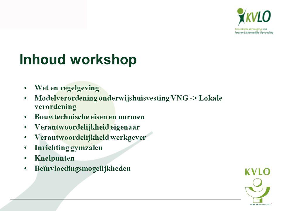 Inhoud workshop Wet en regelgeving