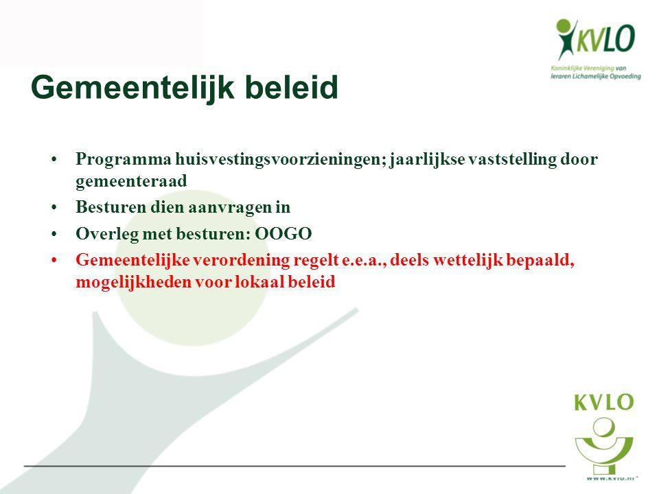 Gemeentelijk beleid Programma huisvestingsvoorzieningen; jaarlijkse vaststelling door gemeenteraad.