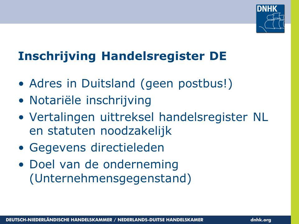 Inschrijving Handelsregister DE