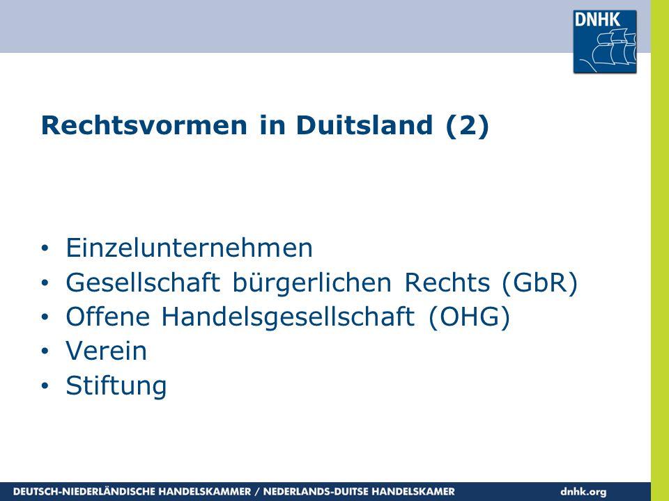 Rechtsvormen in Duitsland (2)