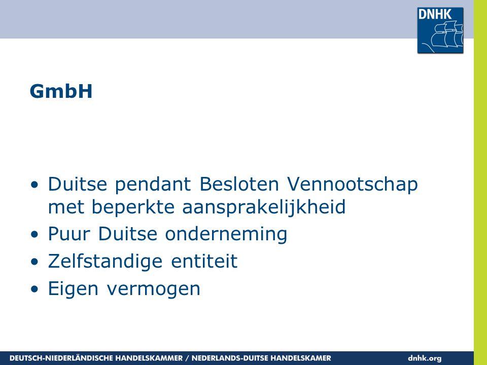 GmbH Duitse pendant Besloten Vennootschap met beperkte aansprakelijkheid. Puur Duitse onderneming.