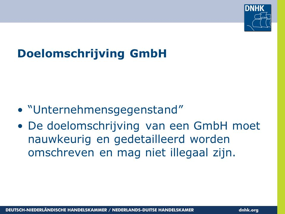 Doelomschrijving GmbH