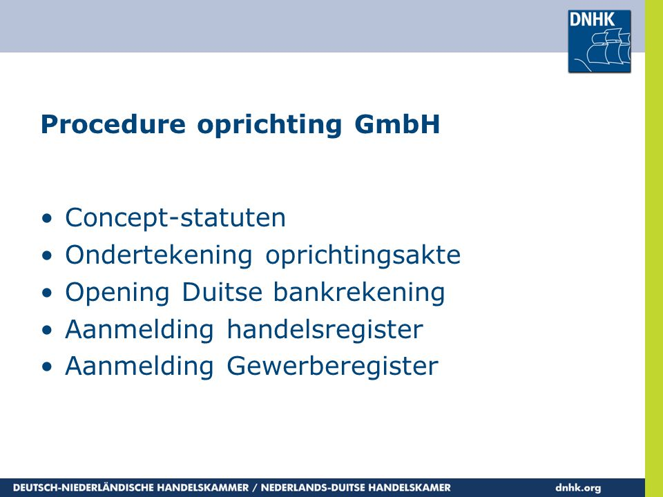 Procedure oprichting GmbH