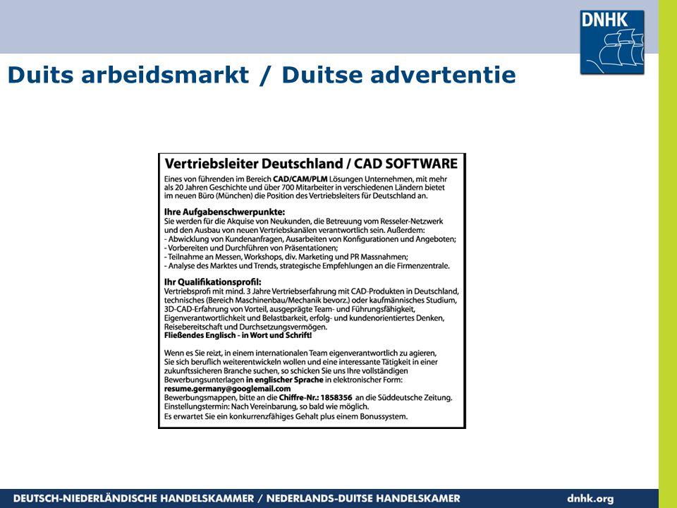 Duits arbeidsmarkt / Duitse advertentie