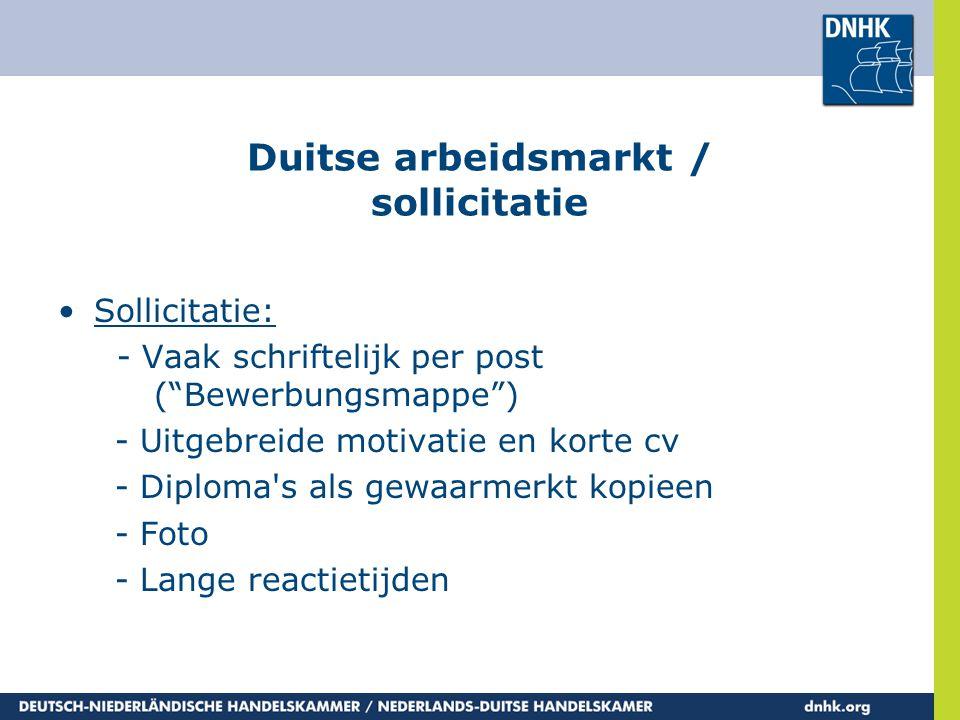 Duitse arbeidsmarkt / sollicitatie