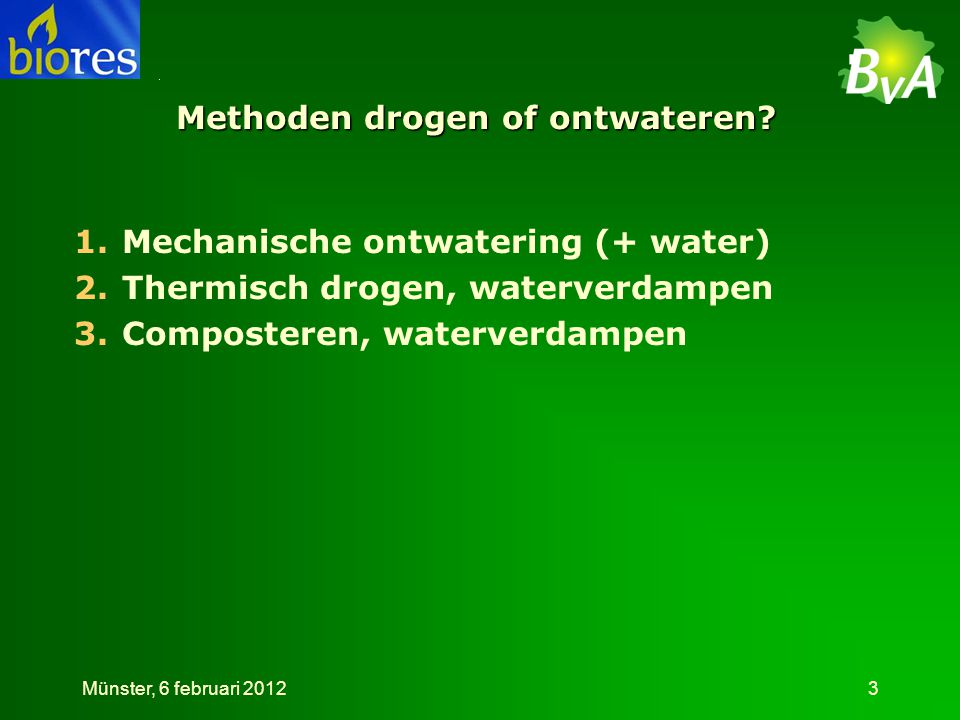 Methoden drogen of ontwateren