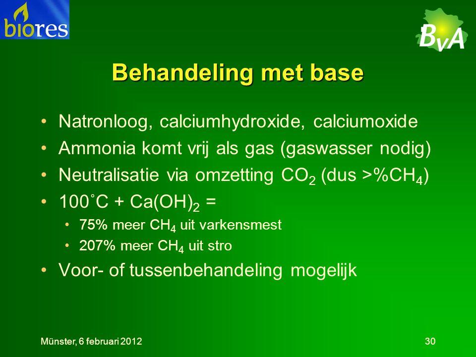 Behandeling met base Natronloog, calciumhydroxide, calciumoxide