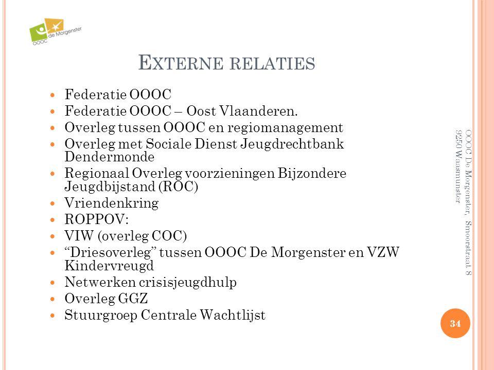 Externe relaties Federatie OOOC Federatie OOOC – Oost Vlaanderen.