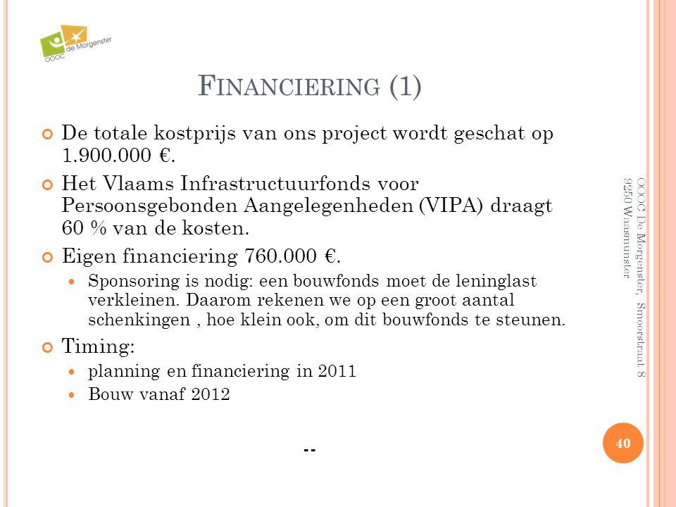 Financiering (1) De totale kostprijs van ons project wordt geschat op 1.900.000 €.