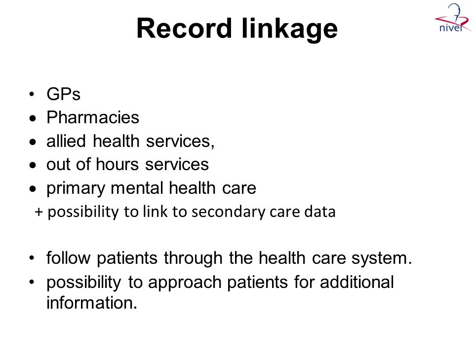 Record linkage GPs Pharmacies allied health services,